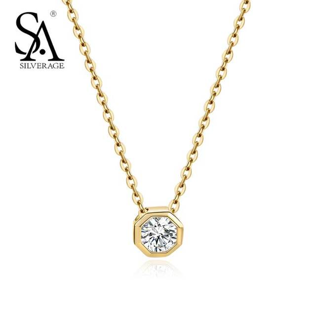 Authentic Sterling Silver 925 Jewelry 18K Gold Necklace & Pendant for Women Clas