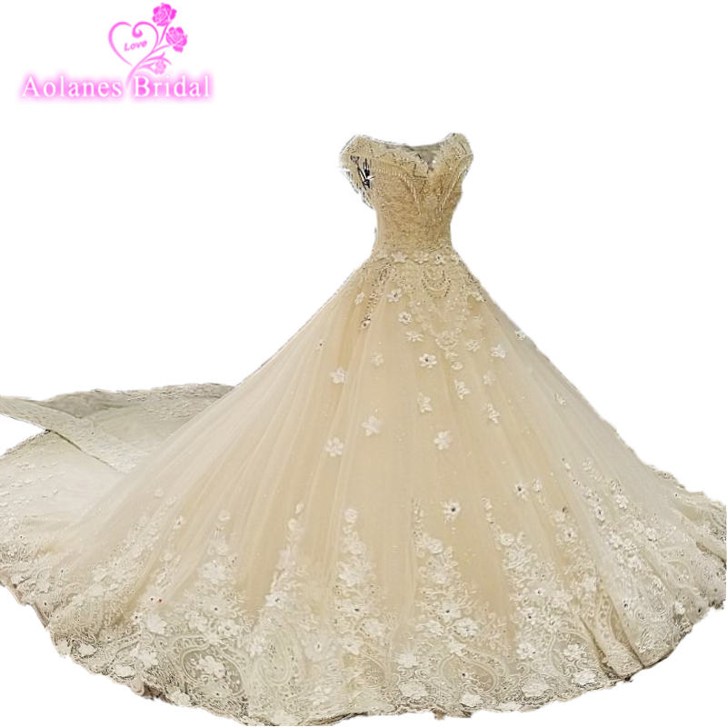 Robe De Soiree 2018 New Arrival Wedding Dress Champagne Wedding Dresses Actual Real Photos Crystals Beads Lace Bridal Dresses