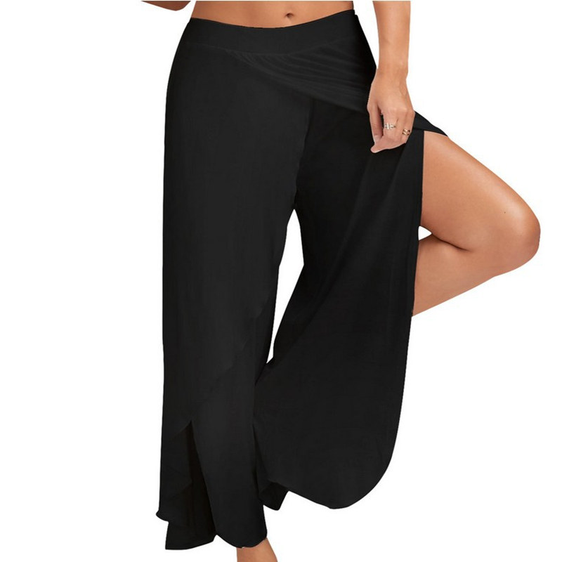 XC Sexy Big Size Loose Wide Leg Yoga Pants Women Half Exposed Fitness Gym Sport Running Pants Black White Sport Trousers M-5XL floral wide leg drawstring pants