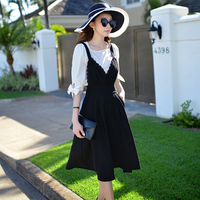 Authentic 2018 Brand Summer Overalls Fashion Elegant Casual Black Wide Leg Pants Pantalon Mujer Women Wholesale