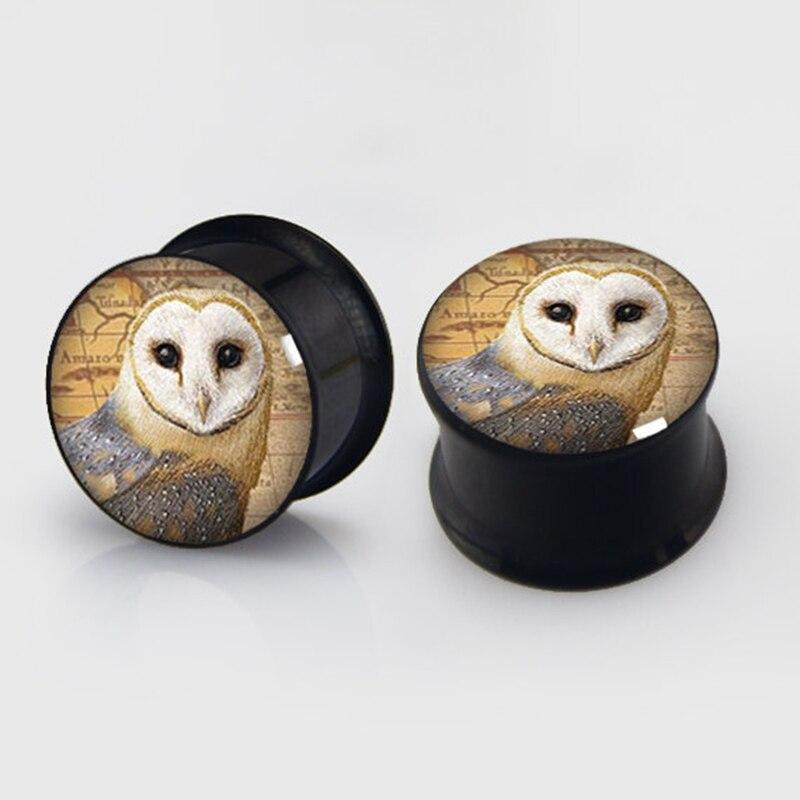 1 pair Barn Owl plugs anodized black ear plug gauges steel flesh tunnel body piercing jewelry 2 pieces