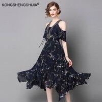 Donne Veste 2017 Nuova Estate Mezza Manica Vintage stampato Floreale spalle scollo a v che borda il vestito lungo