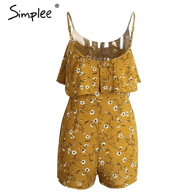 Simplee Boho bow zipper women jumpsuit romper Print flower backless sexy bodysuit summer beach Chiffon overalls playsuit leotard
