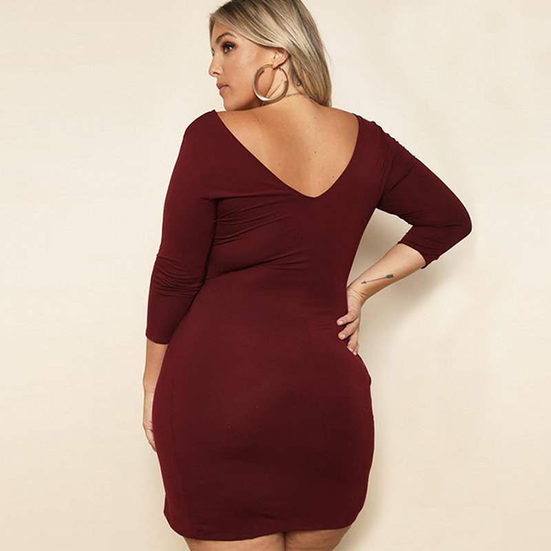 1785a51ec5c Big size 3XL woman dress 2018 spring autumn Three Quarter sleeve sexy  dresses fat MM plus size women clothing 3xl dress-in Dresses from Women s  Clothing on ...
