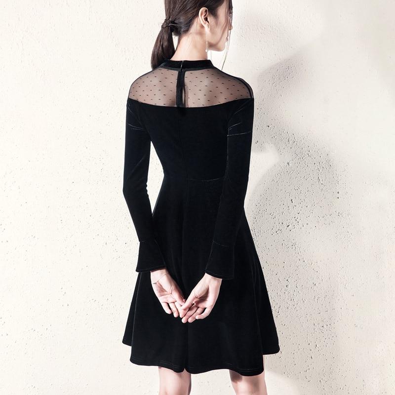 Une Robes Pour Femmes Noir Mesh Manches Flare Épissage Femme Haute Taille Français Asymétrique Velours Robe vFgxTRwqF