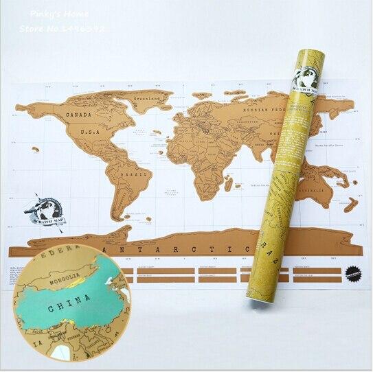 Livraison Gratuite 1 Pièce Gratter HORS CARTE Voyage Gratter Carte 88x52 cm Carte Du Monde