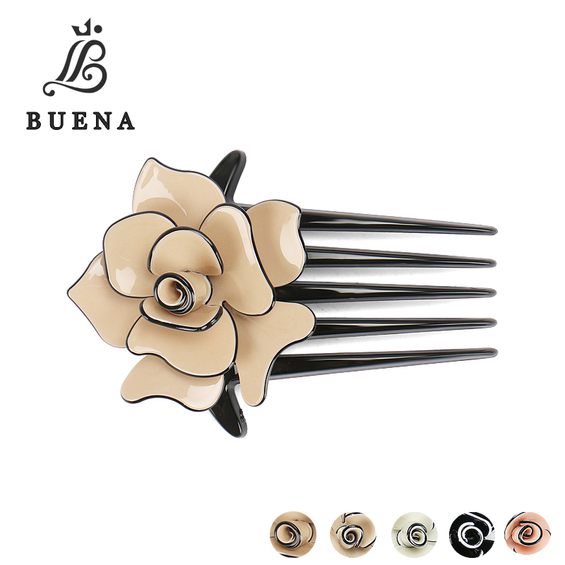 Black Brown Pink Beige Camellia Hair Accessories Flower Hair Comb Acrylic Clips For Women AC12