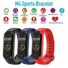 Moda m4 banda bluetooth inteligente pulseira de cor à prova dwaterproof água detecção pressão arterial monitoramento do sono lembrete informações relógio