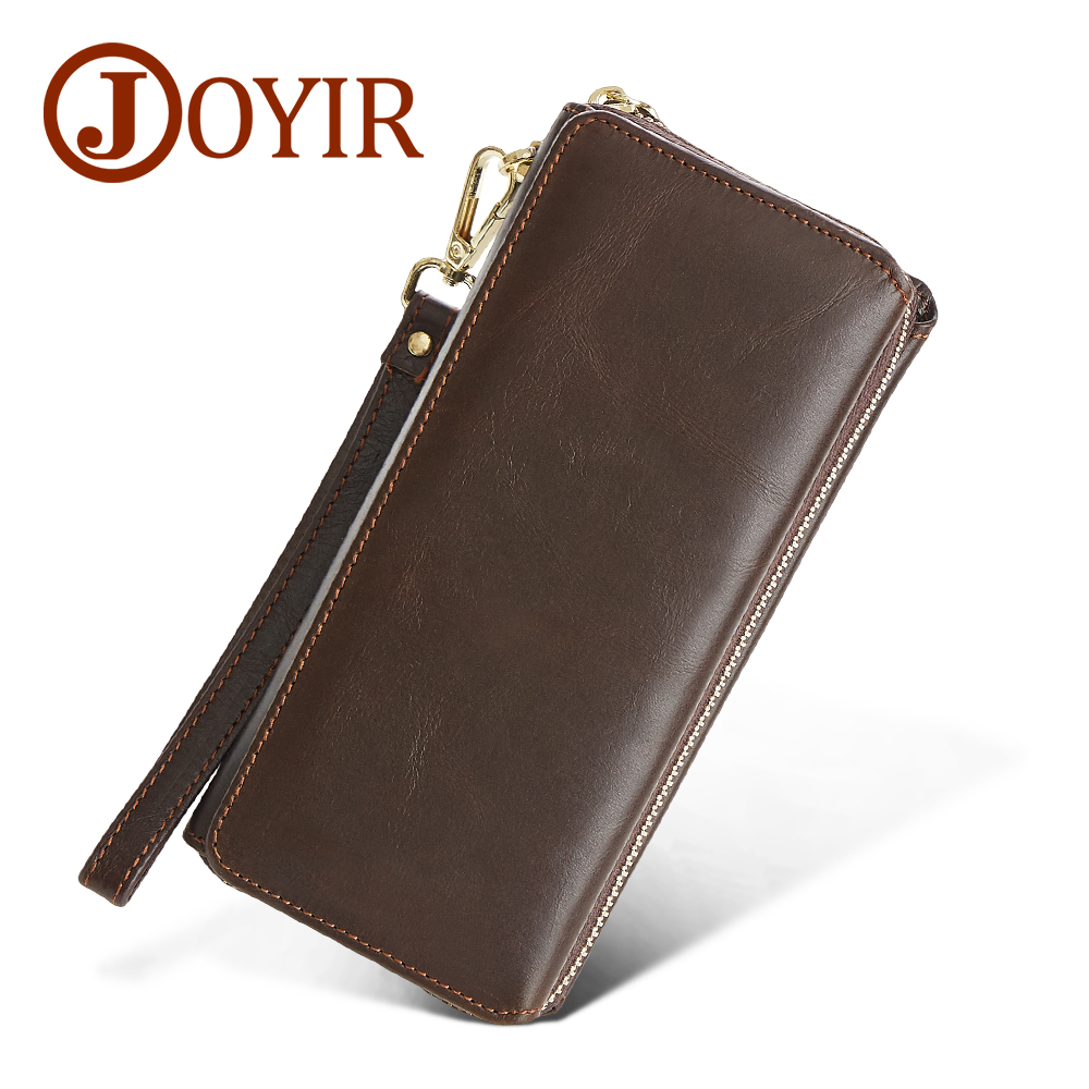 JOYIR Big Capacity Men Wallet Genuine Leather Long Clutch Wallet Casual Money Card Holder Handbag Vintage Zipper Male Coin Purse