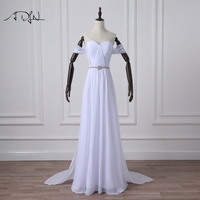 ADLN Simple Chiffon Beach Wedding Dresses With Detachable Train Off The Shoulder Bridal Gown Reception Dress
