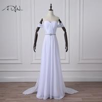 ADLN Simple Chiffon Beach Wedding Dresses With Detachable Train Off The Shoulder Bridal Gown Reception Dress