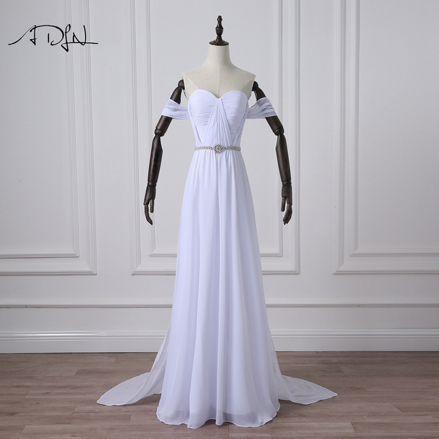 ADLN Simple Chiffon Beach Wedding Dresses With Detachable Train  Off The Shoulder Bridal Gown