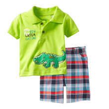 Jumping Kids clothing set summer cotton top + shorts 2 pcs children clothes animals printed fashion kids jersey baby boy suits(China)