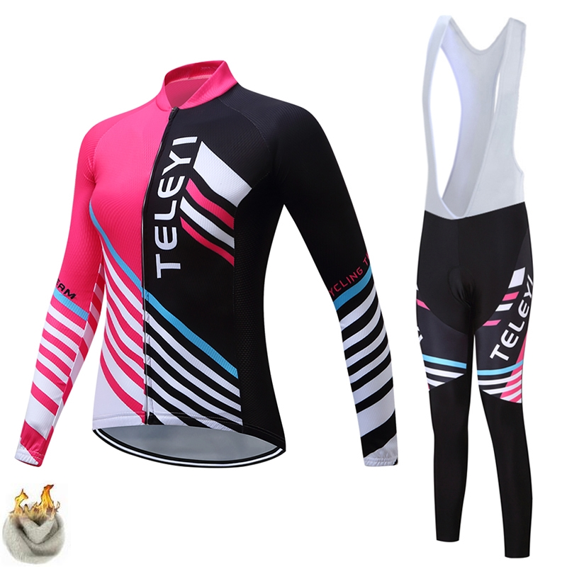 2017 Cycling Set Women Winter Thermal Fleece Long Sleeves Cycling Jerseys Ropa Maillot Ciclismo Bicycle Bike Cycling Clothing
