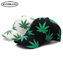 2018 nueva moda Maple Leaf gorra de béisbol hombres mujeres algodón impreso  Weed hip hop Cap verano sombrero casual SnapBack hue. 753be550fe5