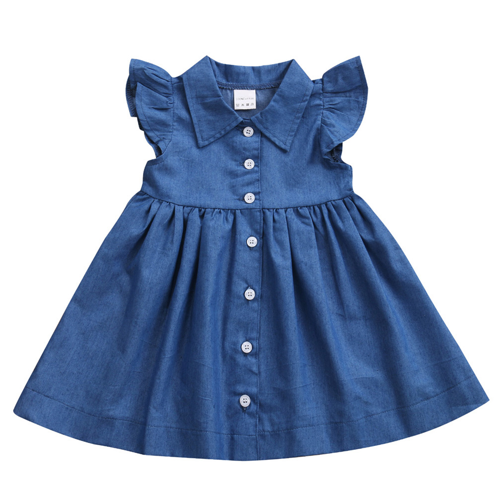 2017 Spring Summer Baby Dresses Casual Baby Girls Dress Lotus Leaf sleeves Baby Denim Dress Turn Down Collar Baby Girl Clothes велосипед навигатор patriot цвет зеленый navigator