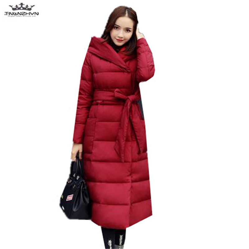 tnlnzhyn 2017 New Winter Women Coat Women Slim Hooded Women Medium long Down Cotton Jacket Thick Parka Fashion Warm Coat Y664 winter women down jacket hooded thick warm cotton coat large size new style casual jacket slim long sleeve medium long coat 2580