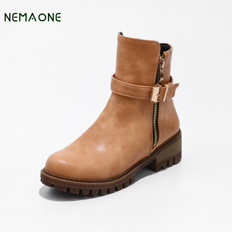 NEMAONE 2019 Plush Snow Ankle Boots Women Keep Warm Winter