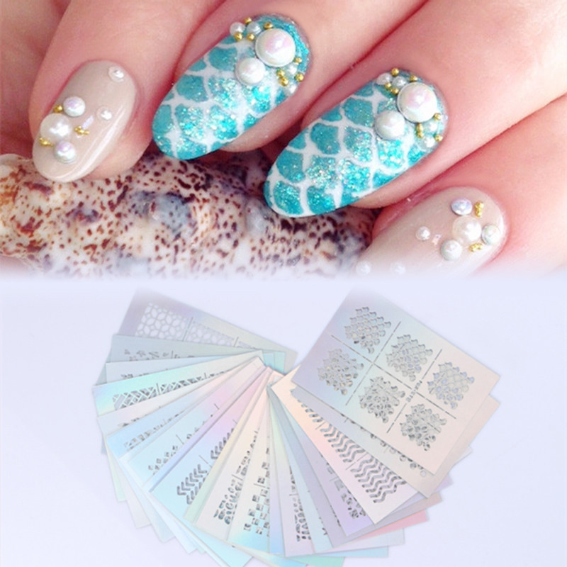 24 Sheet/set Nail Vinyls Hollow Irregular Pattern Star Grid Heart Flower Scale Manicure Nail Art Polish Stencil Nail Stickers 3 designs in 1 sheet laser vinyls nail hollow sticker gold grid irregular patterns tips tool for nail art stencil manicure sa350