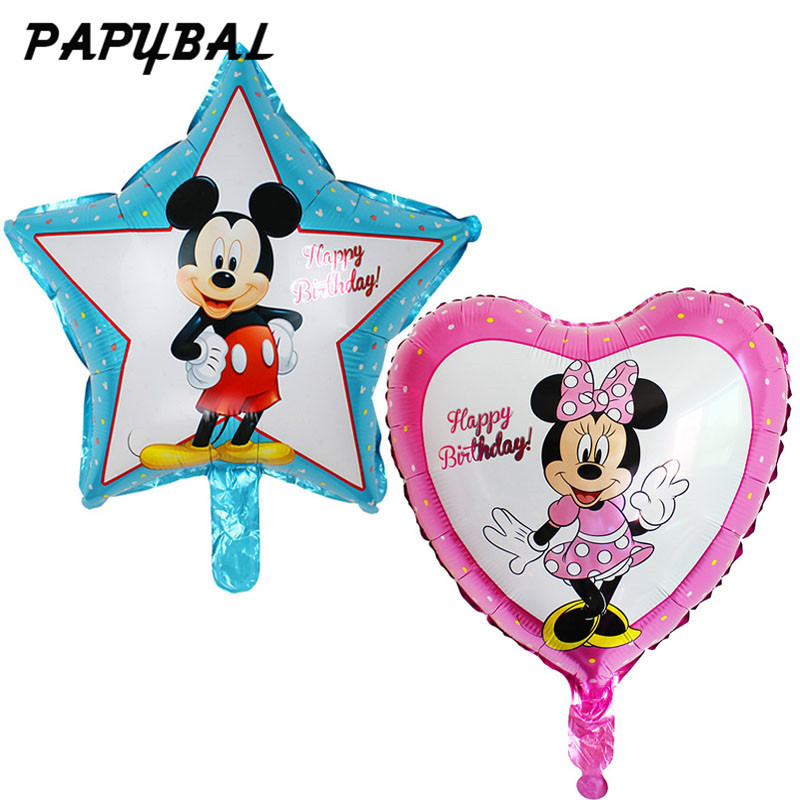 50pcs 18 inch star heart shaped mickey minnie mouse Helium Foil Balloons Baby 1th birthday party decorations supplies globos toy