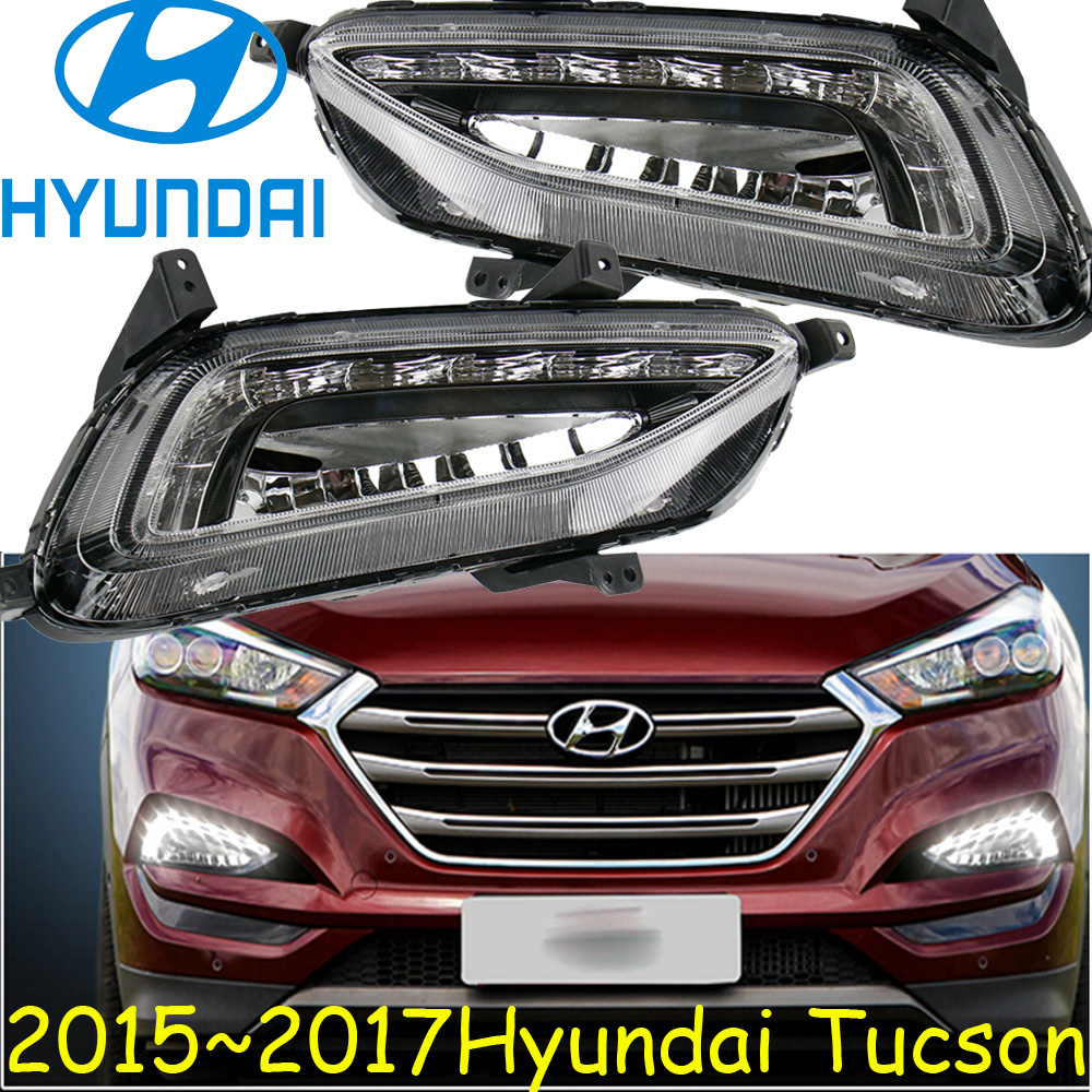 2016~2017 Tucson daytime light,Free ship!Tucson headlight!LED,Tucson fog light,2ps/set;solaris;ix35,ix45 4pcs set smoke sun rain visor vent window deflector shield guard shade for hyundai tucson 2016