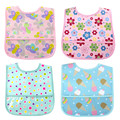 4 pack/set Lovely Cute Cartoon Pattern Waterproof Baby Apron with Long Sleeve Infant Food Bib Smock for Feeding kids Resistant