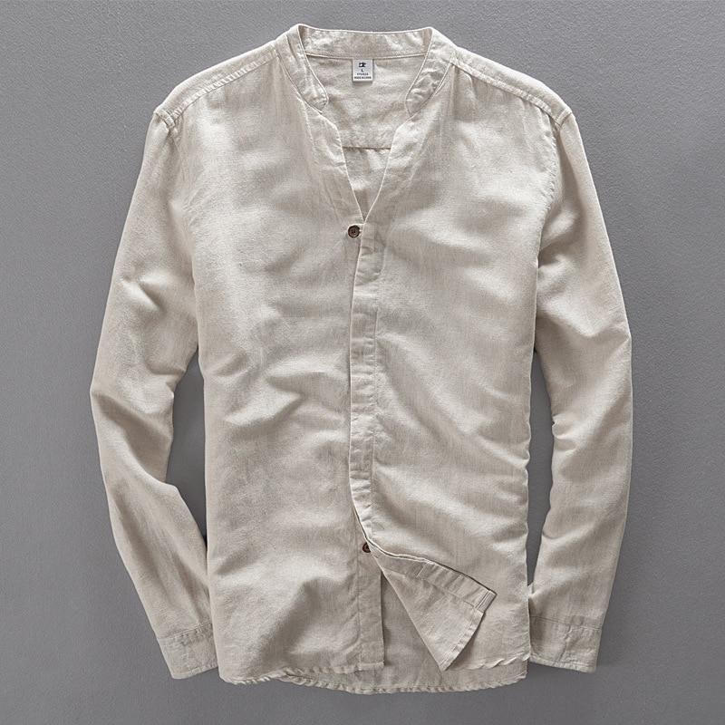 Új márka ruházat divat férfi póló fehér vászon ing férfiak - Férfi ruházat