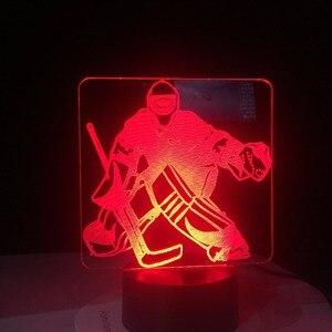Image 3 - Eis Hockey Goalie 3D Modellierung Tisch Lampe 7 Farben Ändern LED Nachtlicht USB Schlafzimmer Schlaf Beleuchtung Sport Fans Geschenke Hause decor