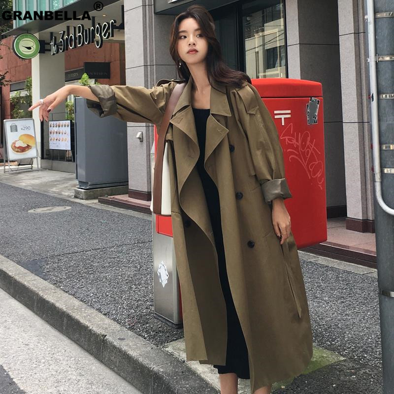 New 2019 Fall /Autumn Casual Double breasted Long Belted   Trench   Military Green Fashion women coats windbreaker