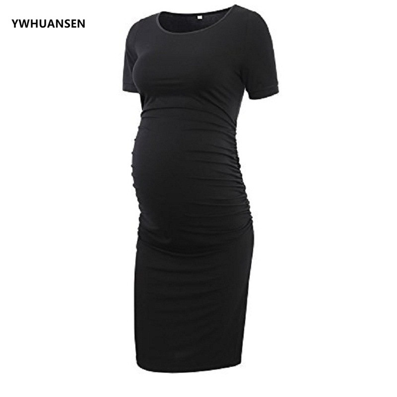 380ab9aa6baef YWHUANSEN Women's Maternity Short Sleeve Striped Dresses Mama Scoop Neck  Baby Shower Vestido Summer Woman Clothes Evening Dress-in Dresses from  Mother ...