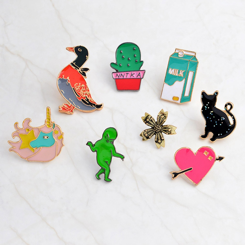 Cartoon Alien Cactus Potted plants Flower Pin Button Bag Coat Collar Gift Cat Heart Brooches Unicorn Milk Duck