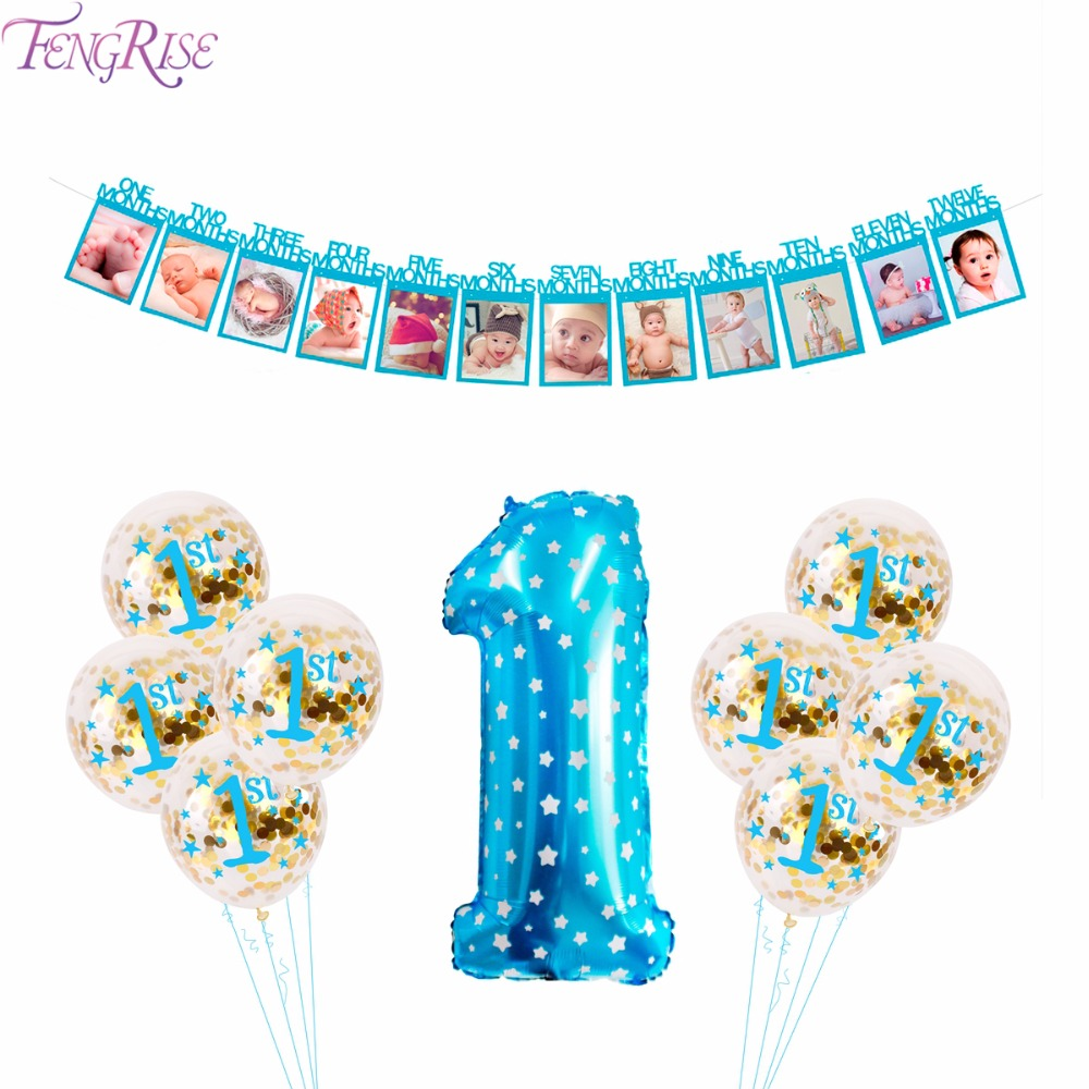 FENGRISE 1st Blue Theme Party Decoration Blue Pompom Ball Happy Birthday Balloons Baby Boy First Birthday Decor Supplies