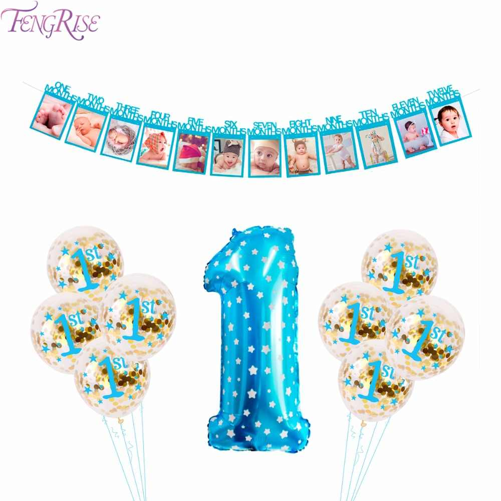 Detail Feedback Questions About FENGRISE 1st Blue Theme Party Decoration Pompom Ball Happy Birthday Balloons Baby Boy First Decor Supplies On