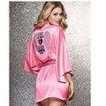 Халаты для женщин Персик розовые крылья ангела горячей алмаз халат/пижамы/халат кимоно сексуальный шелковый халат Ночная Рубашка