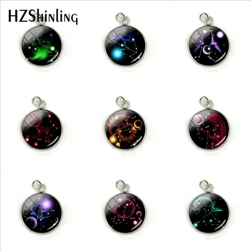 12 Zodiac Colorful Horoscope Bubble Glass Cabochon Picture Pendant Personality Mens Stainless Steel Plated Charms Jewelry