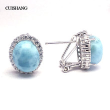 CSJ Natural Blue Larimar Earring Sterling 925 Silver Big Stone 10*12 Wedding Engagement Party for Women Ladies Girls Gift