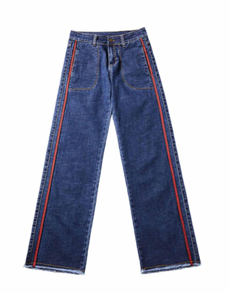 HEE GRAND/середины талии джинсы женские ботильоны-Длина Джинсовые штаны Весна 2019 Для женщин широкие брюки промывают Для женщин рваные штаны свободного кроя WKN579