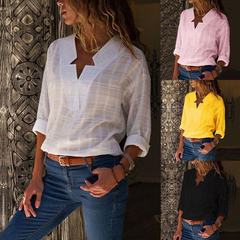 נשים סתיו ארוך כפותים שרוול כוכבים מחורצים מחשוף חולצה מקרית V צוואר סדיר Loose Fit חולצה מוצק צבע משרד Pullov