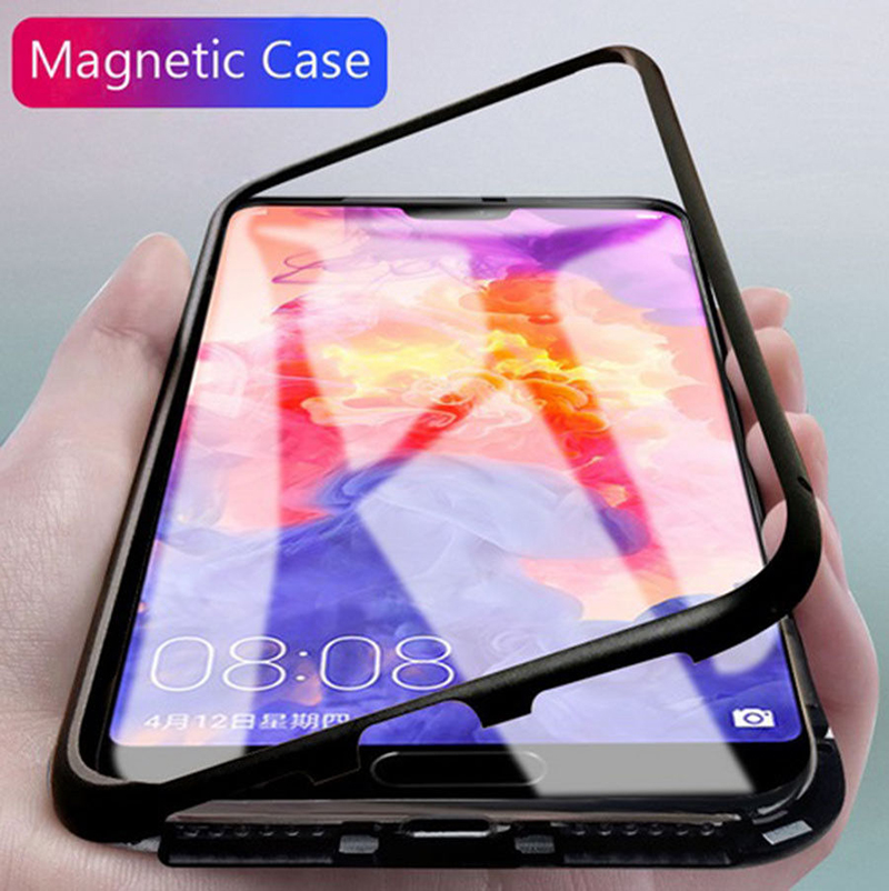 Magnetic Adsorption Metal Case For Huawei P20 p20 Pro Luxury Tempered Glass Cover For OPPO R15/huawei Mate10 10Pro Samsung note9