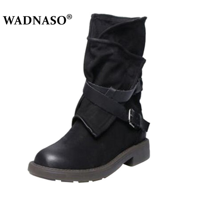 WADNASO Lady Fashion Medium Military Boots Women Buckle Artificial Leather Patchwork Shoes sapatos Ankle boots Plus Size 34-43