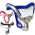 Male Chastity Belt Stainless Steel Blue Pink Black Cock Ring Penis Lock Chastity Device Sex Products Male Bondage for Man G15