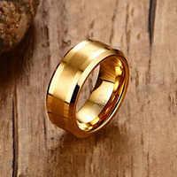 Mens Anéis 8MM Ouro Carboneto de Tungstênio-cor Anel de Dedo para Os Homens de Noivado Alianças de Casamento Comfort Fit Moda Jóias anillos anel