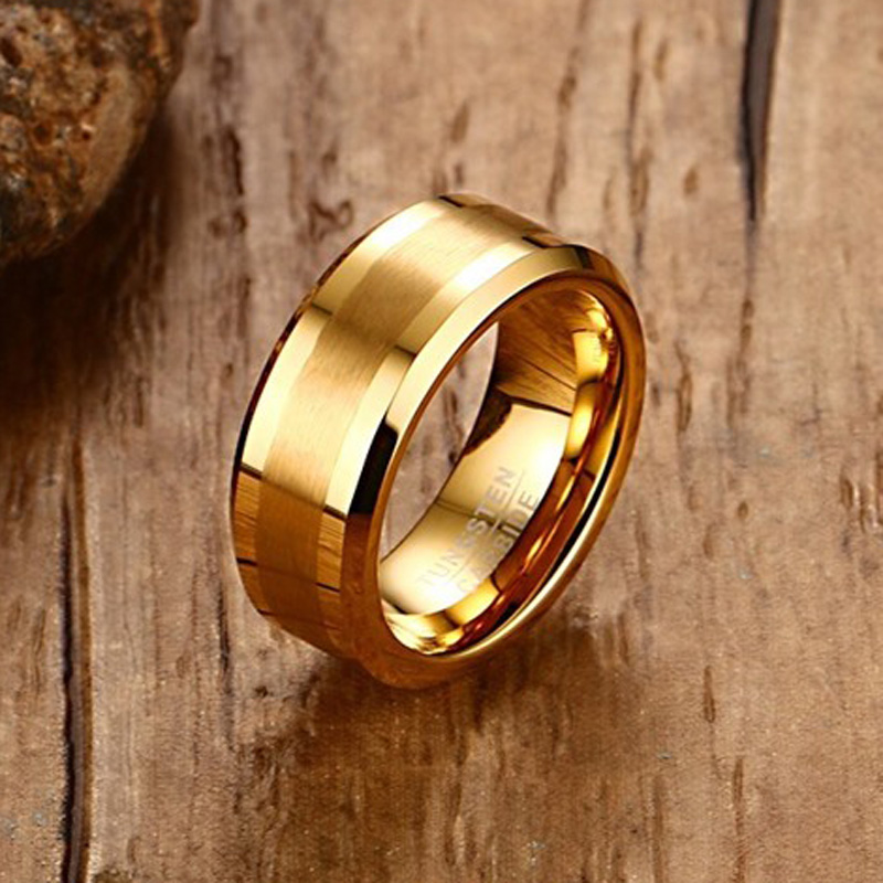 Mens Rings 8MM Tungsten Carbide Gold-color Finger Ring for Men Engagement Wedding Bands Comfort Fit Fashion Jewelry anillos anel