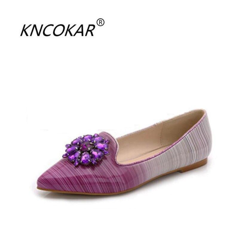 KNCOKAR 2018 printemps et été automne nouveau style à la mode perceuse à eau fermoir rayure bouche peu profonde talon bas chaussures plates pointues
