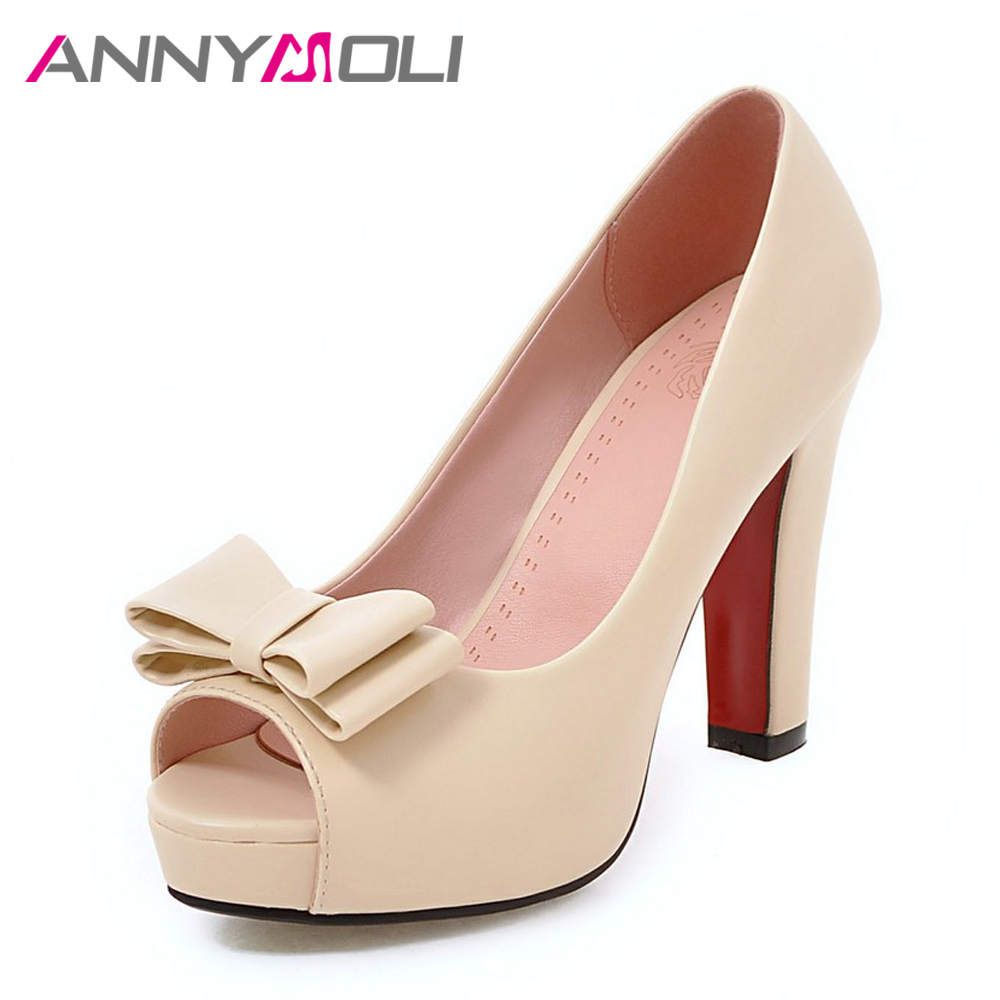 ANNYMOLI Women Pumps High Heels Platform Open Toe Bow Women Party Shoes Peep Toe High Heels luxury Women Shoes Size 43 33 Spring meotina women wedding shoes 2018 spring platform high heels shoes pumps peep toe bow white slip on sexy shoes ladies size 34 43