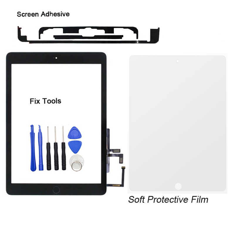 1 pz Testato Per Apple iPad Air (2013 Version) a1474 A1475 A1476 Digitizer Touch Lente Frontale Screen + Adesivo + Pulsante + Proteggere + Strumenti