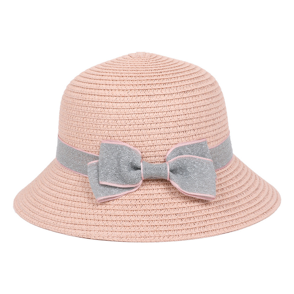 Pom Pom Hat SC64 SSP Girls Kids Childs Straw Trilby With Ribbon Band