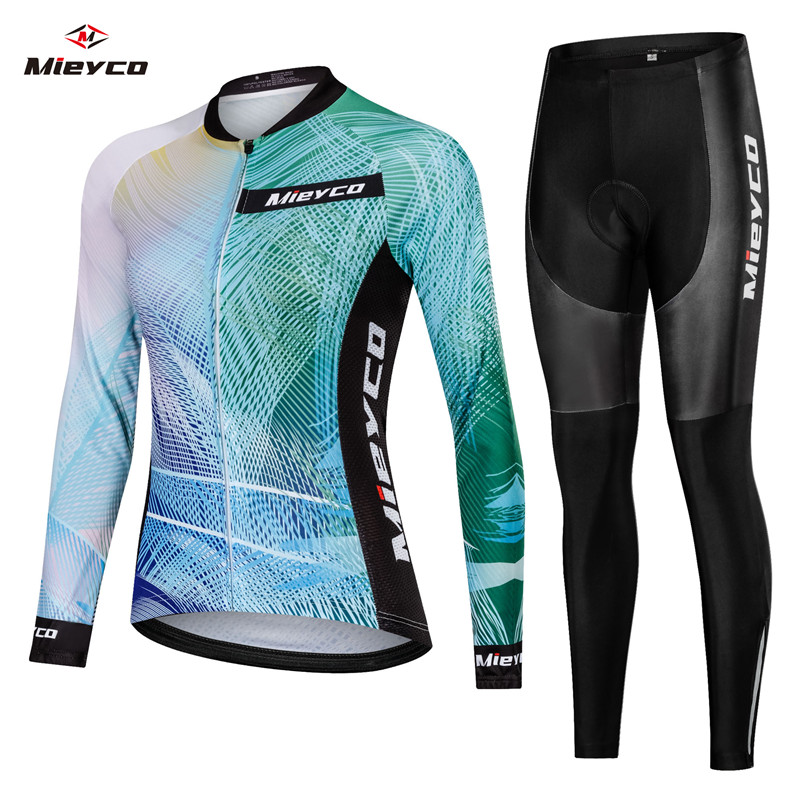 Women Cycling Jersey Breathable Long Sleeve Clothes Ropa Ciclismo Bicycle Sportswear Bike Quick Dry Cycle Clothing Bib Short Pad