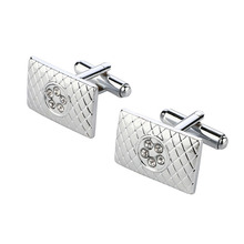 High Quality Stainless Steel Cuff-links, Luxury Clear Rhinestone Decoration Cuff-links For Men, Business Shirt Accessory