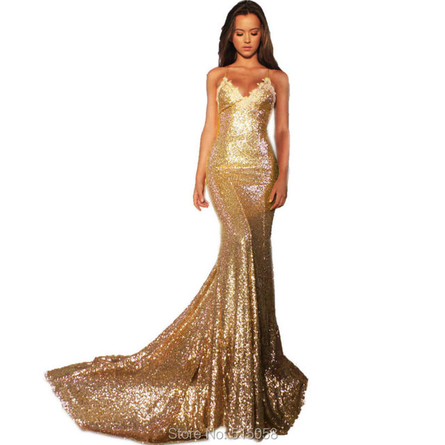 Rose Gold Prom Silvers: Champagne Gold Rose Pink Silver Long Sequins Mermaid Prom